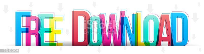 istock Free Download sign. Multi colored vector text isolated on a white background. 1253130509
