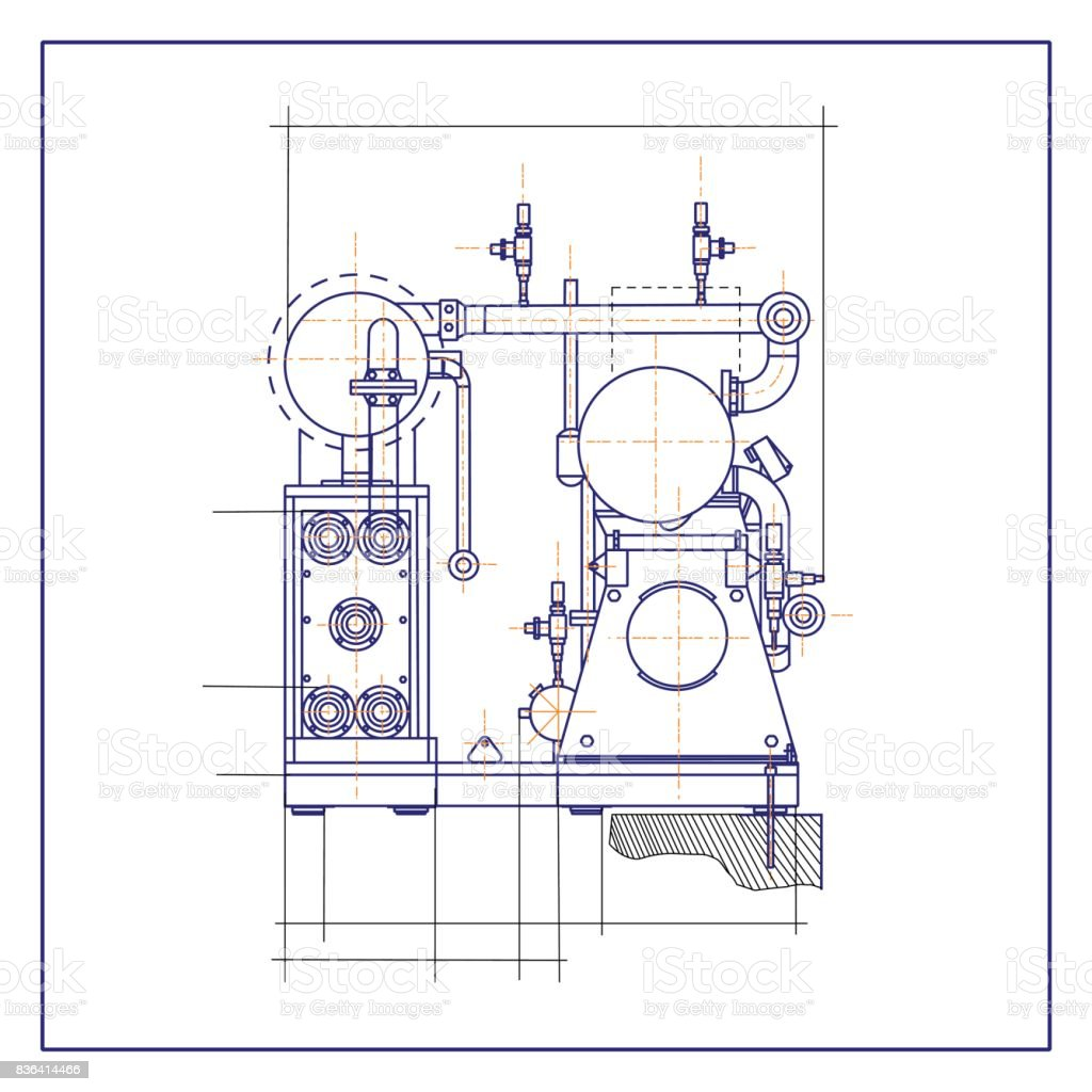 Free drawing of a refrigerating machine vector art illustration