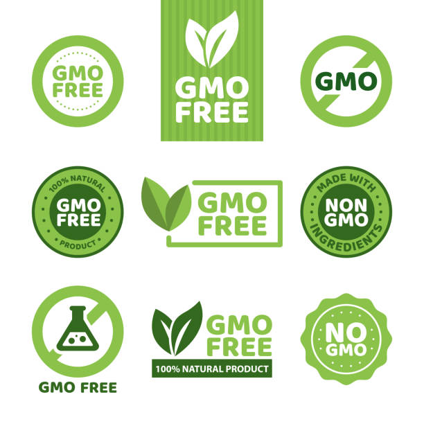 GMO free emblems Vector illustration of different green colored GMO free emblems. genetic modification stock illustrations