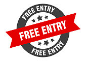 free entry sign. free entry black-red round ribbon sticker