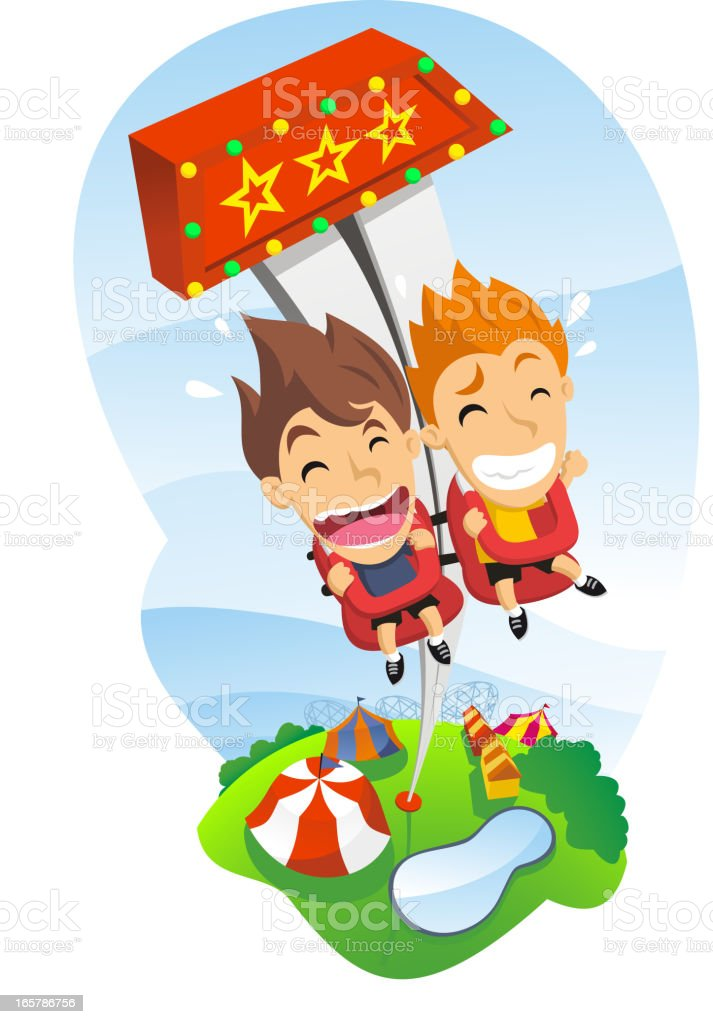 Free fall Game in Amusement Park With happy Shouting kids vector art illustration