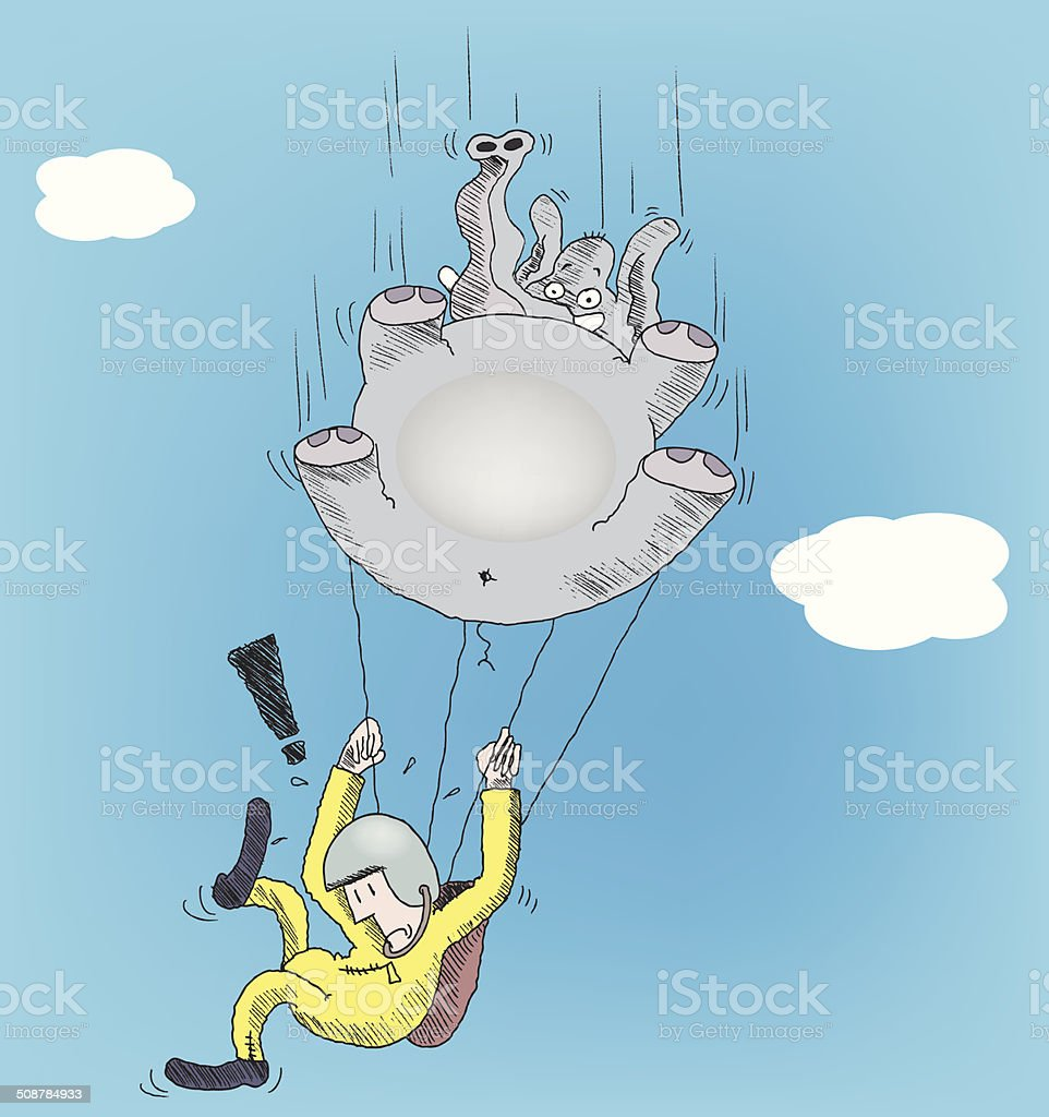 Free falling vector art illustration