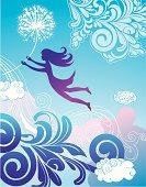 Girl is flying on dandelion.