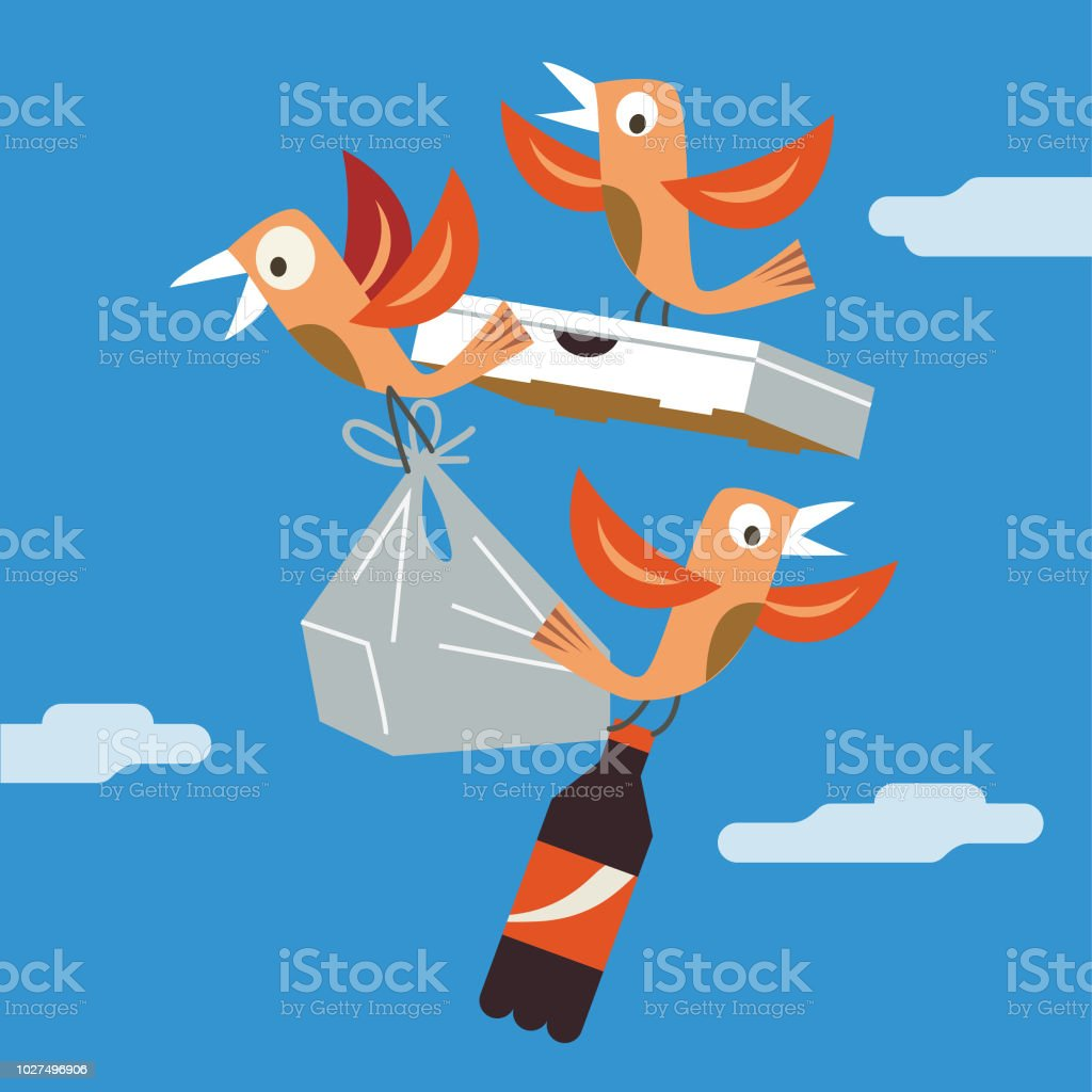 free food delivery vector art illustration