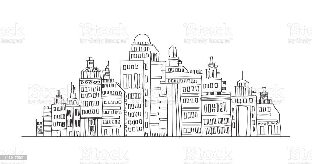 Free Hand Line Drawing City Landscape Vector Design Stock