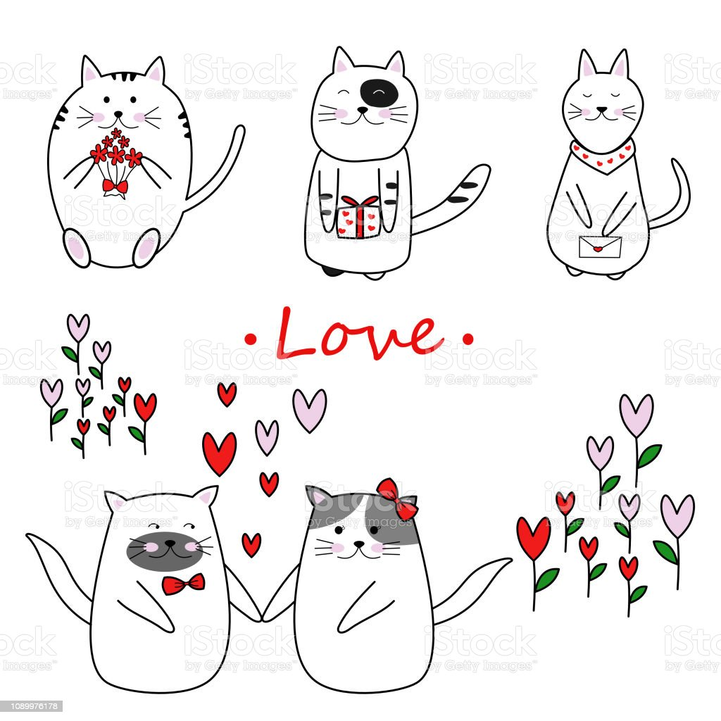 Free hand lovely cat in love on valentine day