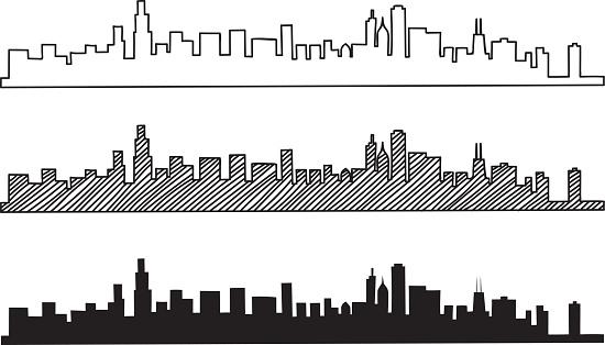 Free hand sketch of Chicago skyline.