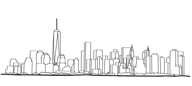new york şehir manzarası serbest el çizimi. - panoramik stock illustrations