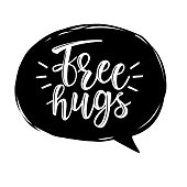 Free Hugs vector lettering. Can be used for cards, flyers, posters, t-shirts.