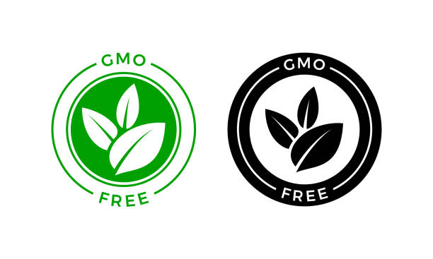 GMO free icon. Vector green leaf non GMO logo sign for healthy food package label design GMO free icon. Vector green leaf non GMO logo sign for healthy food package label design genetic modification stock illustrations