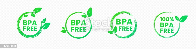 istock BPA Free icons. No Bisphenol A and phthalates round labels in bright green color with leaves. Vector illustration of non-toxic grade plastic. Concept of emblem for safe plastic ecological package 1306178648