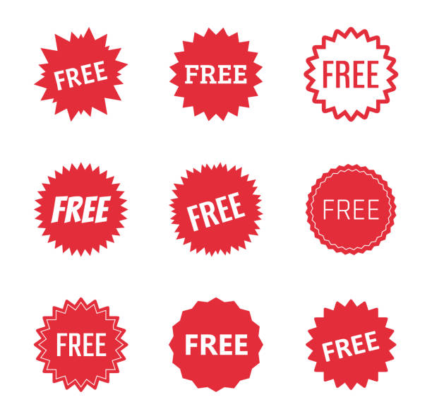 free label icons set, free tag vector illustration free icon set, free labels and stickers freedom stock illustrations