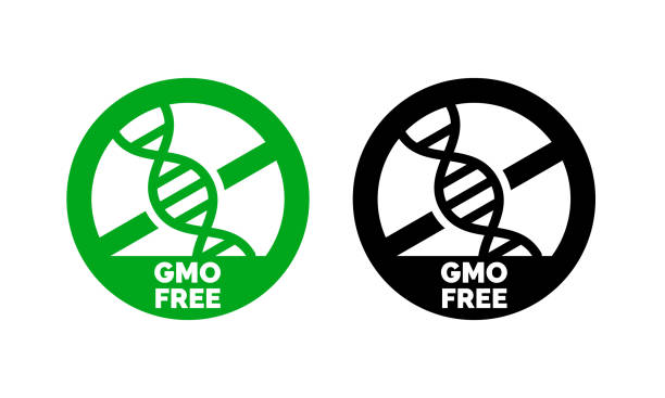 GMO free label with DNA vector icon for non gmo product package or GMO free natural organic food design GMO free label with DNA vector icon for non gmo product package or GMO free natural organic food design genetic modification stock illustrations