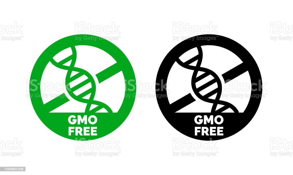 GMO free label with DNA vector icon for non gmo product package or GMO free natural organic food design vector art illustration