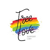 Free love. Support LGBT. Calligraphy