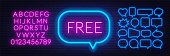 Free neon sign on a dark background. Template for design with fonts.