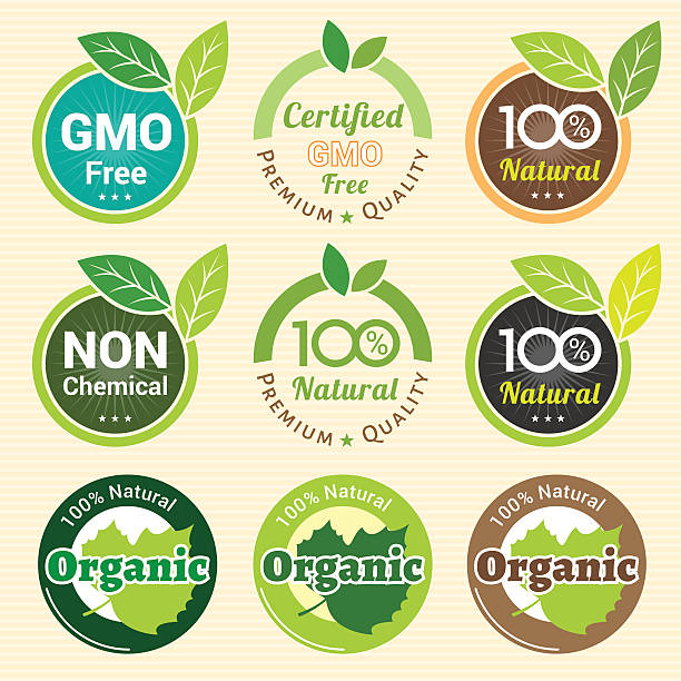 GMO Free Non GMO and organic guarantee tag label emblem GMO Free Non GMO and organic guarantee tag label emblem sticker for plant fruits and vegetable genetic modification stock illustrations