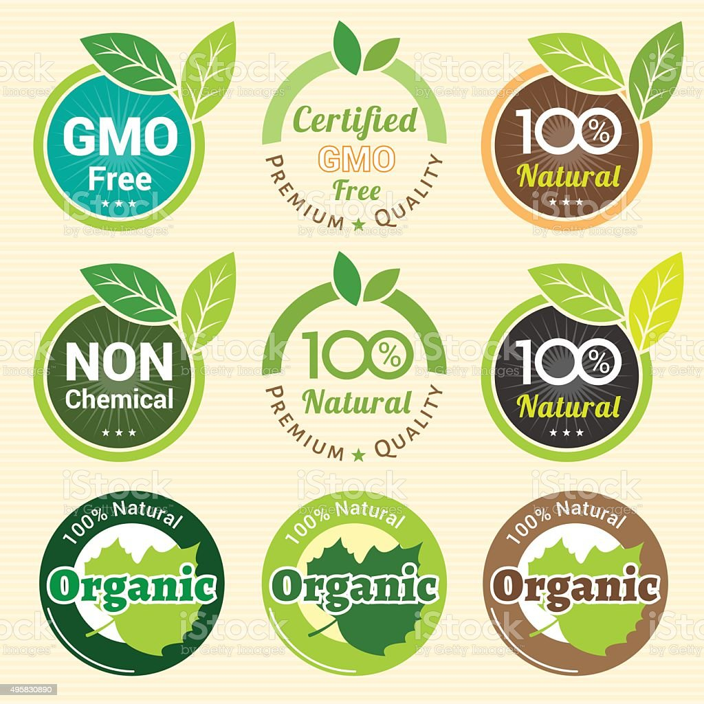 GMO Free Non GMO and organic guarantee tag label emblem vector art illustration