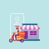 Vector banner of free delivery by bike via mobile phone . Online delivery service concept.