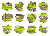 GMO free vector icons with origami paper symbols of organic vegan food, eco green and natural healthy products. Ecology ingredient isolated emblems design with fresh leaves and plant foliages