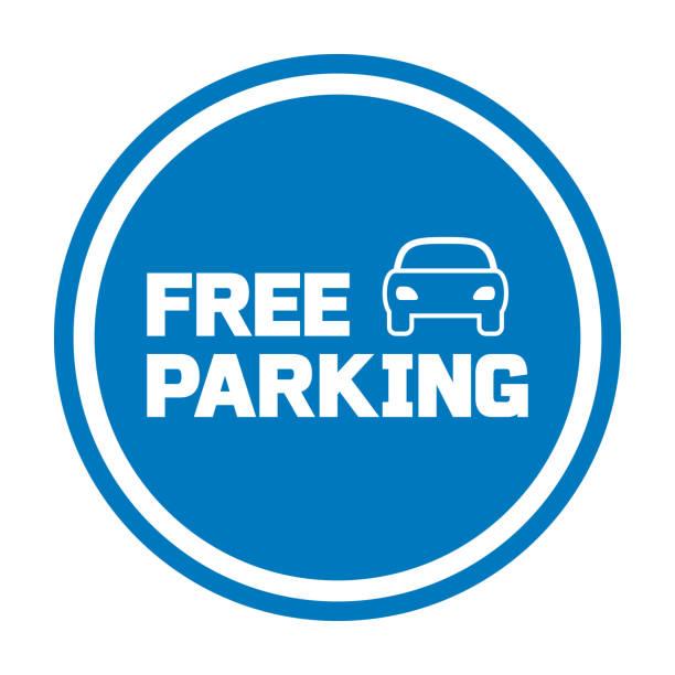 illustrations, cliparts, dessins animés et icônes de signe de stationnement gratuit avec l'icône de voiture - gare