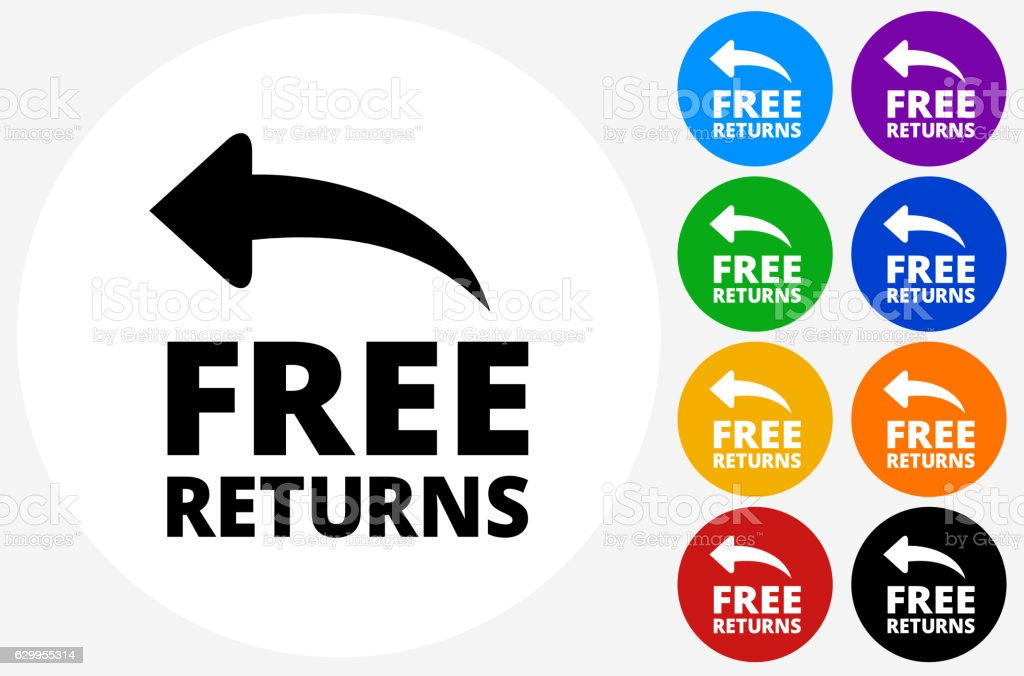 Free Returns Icon on Flat Color Circle Buttons vector art illustration