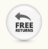 Free Returns Icon on simple white round button. This 100% royalty free vector button is circular in shape and the icon is the primary subject of the composition. There is a slight reflection visible at the bottom.