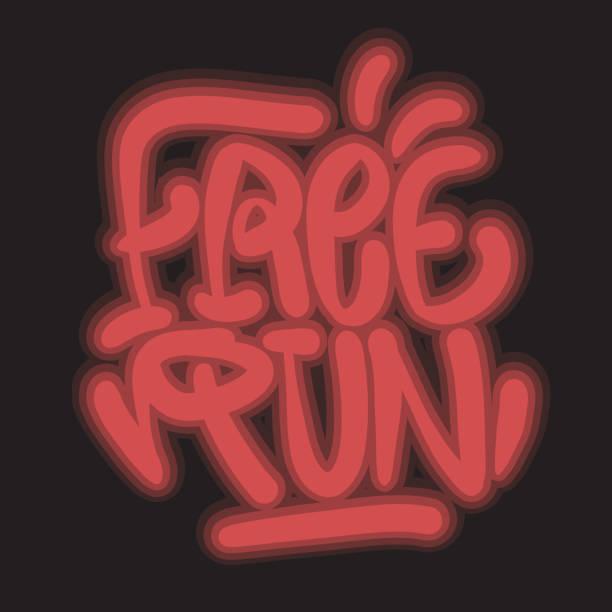 Free Run Brush Lettering Type Design Graffiti Tag Style Glow Light Effect Vector Graphic vector art illustration