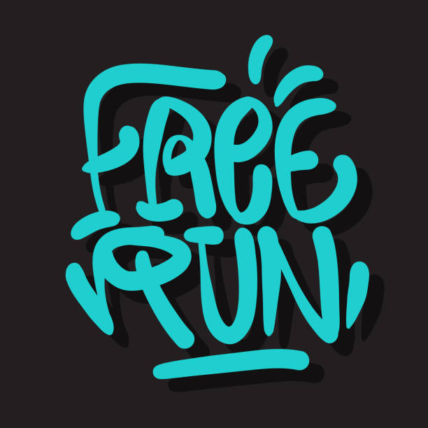 Free Run Brush Lettering Type Design Graffiti Tag Style Vector Graphic vector art illustration