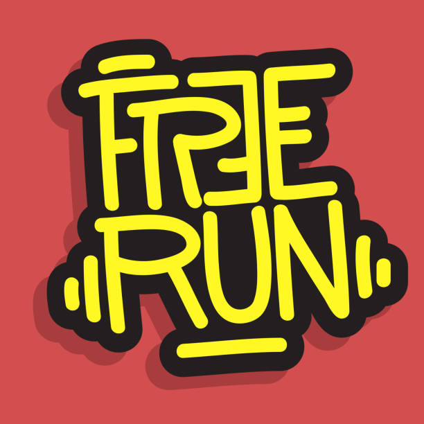 Free Run Brush Lettering Type Design Vector Graphic vector art illustration