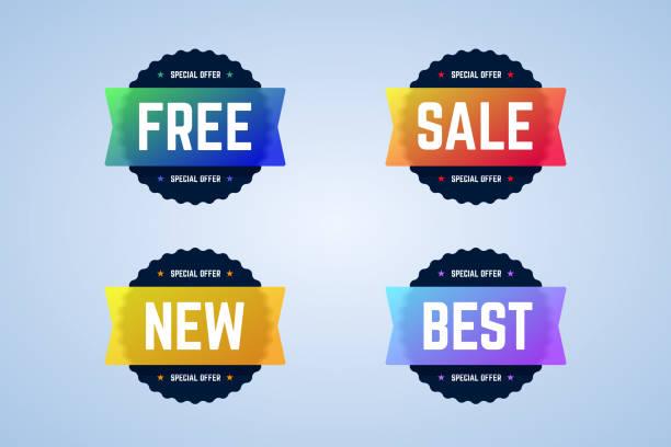 free, sale, new and best round badges, banners. - pieczęć znaczek stock illustrations