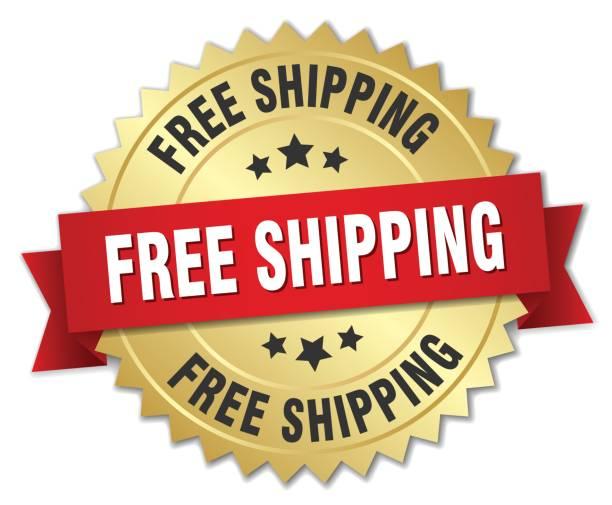 kostenloser versand 3d gold abzeichen mit rotem band - freiflächen stock-grafiken, -clipart, -cartoons und -symbole