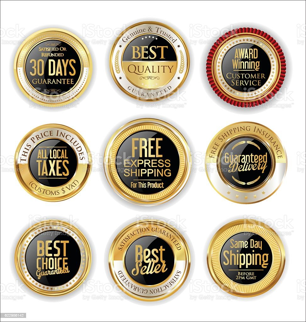 Free shipping and best quality golden labels collection vector art illustration
