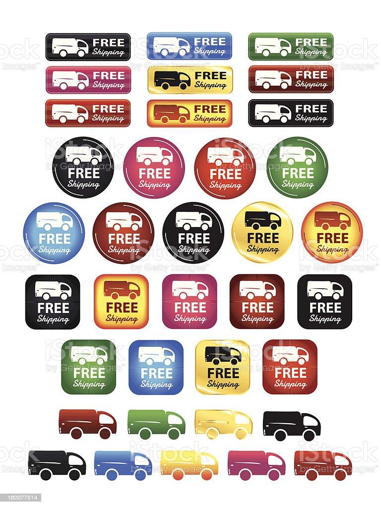 Free Shipping Badges Set vector art illustration