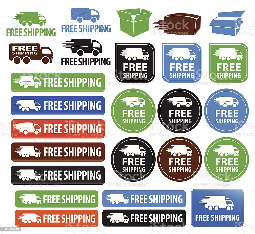 Free Shipping Badges royalty-free free shipping badges stock vector art & more images of black color