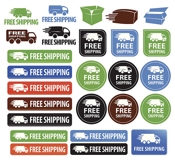 Free Shipping Badges vector art illustration