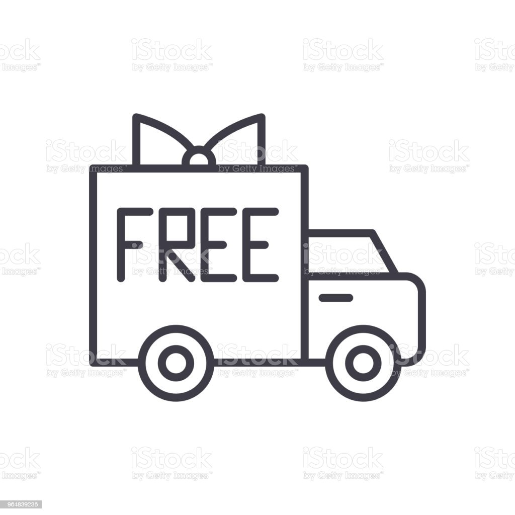 Free shipping black icon concept. Free shipping flat  vector symbol, sign, illustration. royalty-free free shipping black icon concept free shipping flat vector symbol sign illustration stock vector art & more images of bag