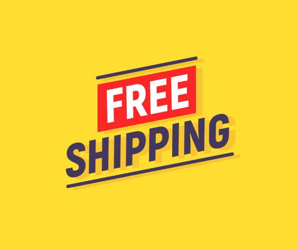stockillustraties, clipart, cartoons en iconen met gratis verzending banner design. vrachtwagen product shipping promotie typografie - scheepvaart