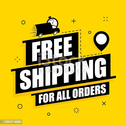 istock Free shipping delivery offer. Free delivery vector poster on yellow background. Promotion flat illustration. 1265074690