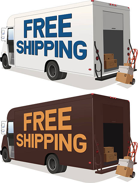 free shipping delivery truck in two colors - delivery van stock illustrations, clip art, cartoons, & icons