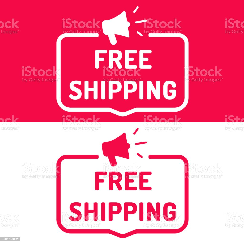 Free shipping. Flat vector illustration on white and red background. royalty-free free shipping flat vector illustration on white and red background stock vector art & more images of advertisement