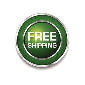 Free Shipping Glossy Shiny Circular Vector Button Icon Set