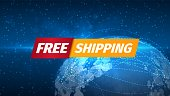 Free shipping icon on outer space background Free of charge sign vector illustration