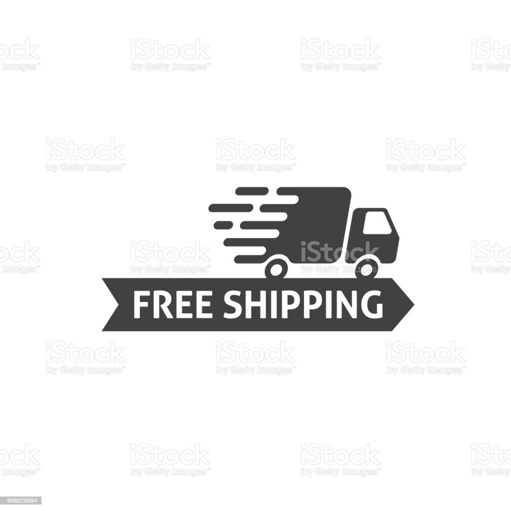 Free shipping icon vector isolated, flat cartoon free delivery badge vector art illustration