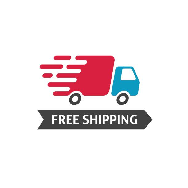 Free shipping icon vector, truck moving fast and free shipping text label, fast delivery badge isolated on white vector art illustration