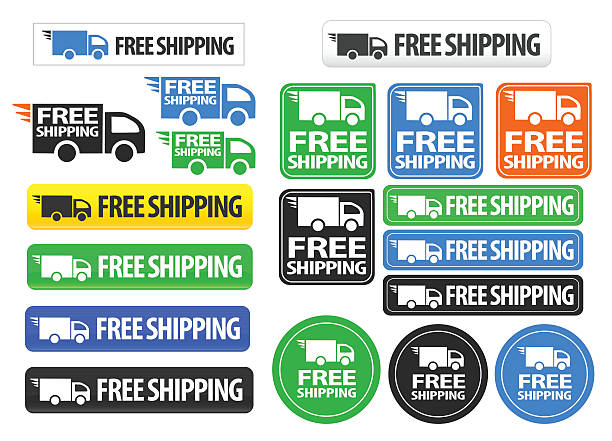 Free Shipping icons and buttons pack vector art illustration