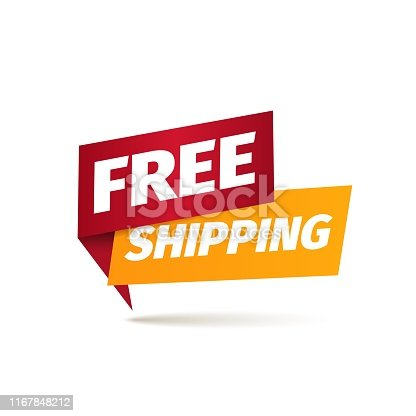 Free shipping isolated vector icon Delivery service pointer Sticker of cargo services