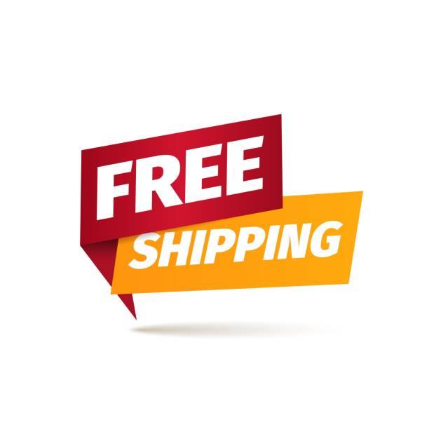 stockillustraties, clipart, cartoons en iconen met gratis verzending geïsoleerd vector pictogram. aanwijzer voor bezorgings service. sticker van vrachtdiensten - scheepvaart