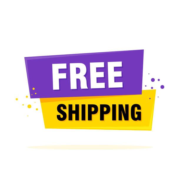 illustrations, cliparts, dessins animés et icônes de livraison gratuite étiquette signe. bannière de style origami. illustration vectorielle - liberté