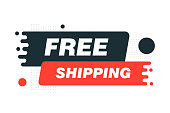 Free shipping Label sign. Origami style banner. Vector illustration.